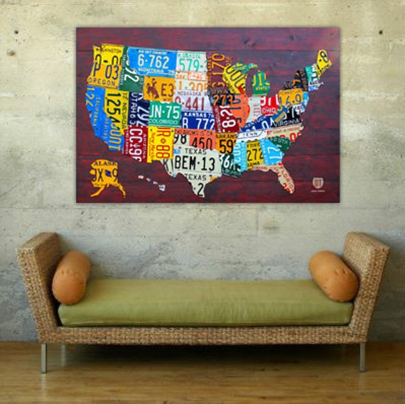 "License Plate Map of the United States 36"" x 24"" Canvas Print"
