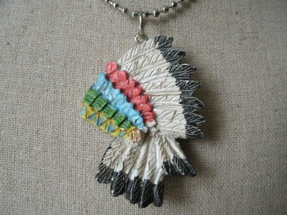vintage indian headress necklace