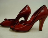 1940s  Red Peep Toe Pumps CRIMSON VAMP  Bows HIgh Heels NOS Sz 6-6.5