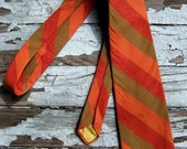 Vintage  Men's Wide Necktie Linen Weave HARVEST HUES Autumn Colors Fall Tie