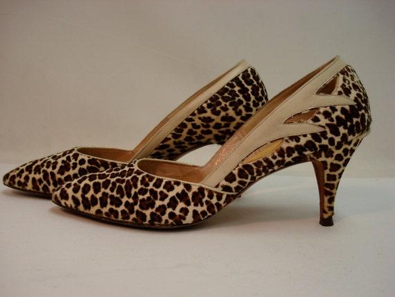 1950s Leopard Print Fur High Heel Pumps w/Cutout PUSSYCAT PINUP Animal Print