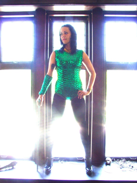 1960s Stretch Sequin Dance Leotard EMERALD SHOWGIRL with Armband