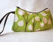 Handmade pleated wristlet lime green with brown and off white