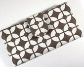 On Sale Handmade women brown wallet brown and white circles Id clear pocket