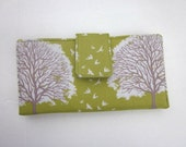 Handmade green wallet Id clear pocket with brown and white oak tree
