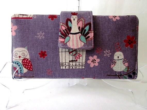 Handmade women purple wallet owl chicken folk birds