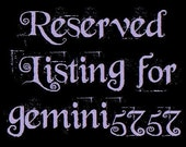 RESERVED for gemini5757 Final Payment for Cosplay Costume