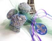 FRENCH LAVENDER Sachet Bloom Bouquet, Fleur de Lis, Green Blue Purple