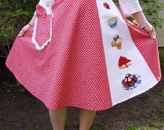 Red Gingham Circle Skirt, Red and White Gingham Skirt, Half Circle Skirt, Picnic Skirt, Summer Skirt