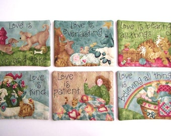 LOVE IS Coasters, Christmas Coasters, Christian Coasters, Country Coasters