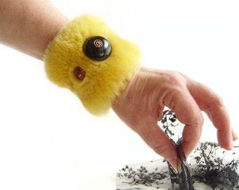YELLOW FUR CUFF Bracelet, Vintage Black Button, Brass Colored Buttons Beads, Mustard Faux Fur