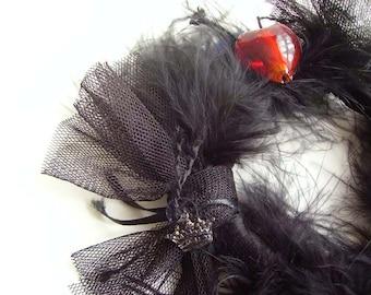 BLACK Feather Bracelet, Black Bangle, Black Tulle and Feather Bracelet, Black and Red Bangle Bracelet