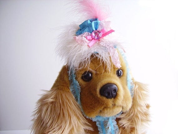 Marie Antoinette Dog Hat, Pink and Teal, Small Toy Dog, Dog Party Hat, Female, Fancy