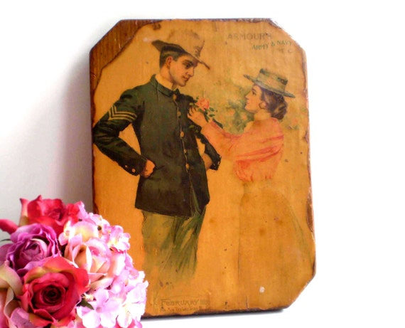 VINTAGE ARMY Print, Soldier and Sweetheart Plaque, Old Army Print, Decoupage on Wood Cutting Board, Romantic Armour Army