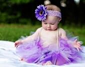 Purple Lavender Infant Baby Toddler Girls - Sugar Plum Sewn Tutu -  with flower headband set - photography prop birthdays