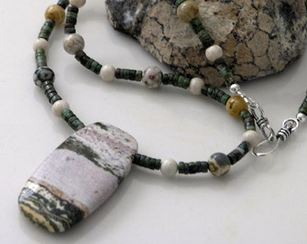 Ocean Jasper with Riverstone and Green Chrysocolla Necklace