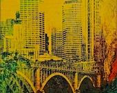 Minneapolis Bridge and Buildings, digital art photo, abstract, Minnesota photo, dining room, office, great room