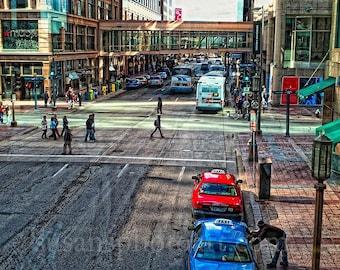 Streets of Minneapolis, MN 11x14 inch photo, home decor, wall art, Minnesota photo, colorful urban art, cityscape, urban,
