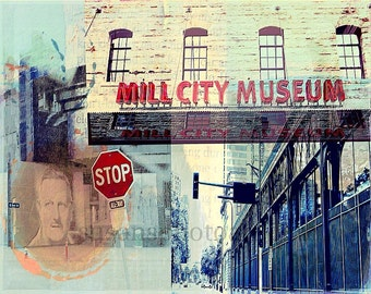 Mill City Minneapolis Minnesota, fine art digital Photo, wall art, office art, home decor, photo montage