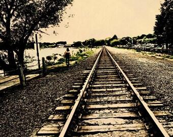 Dog Walk, Railroad Tracks, Wayzata MN,  digital Fine art photo, office art, wall art, Minnesota, lake, aged photo, midwest art, lake photo