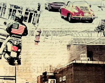 Lowry Hill Minneapolis, Photo Montage, wall art, home decor, urban, office art, Minnesota art, photo collage, motorcycle art