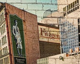 Fitzgerald Theater, St Paul MN, digital art photo, wall art, home decor, historic,  Minnesota art, office art, urban art, large paper art