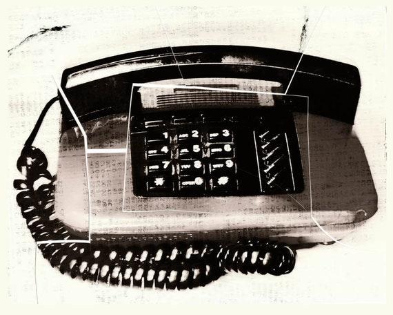 Retro Telephone Mixed Media Photo, digital Print, wall art, home decor, office art, edgy art, contemporary art, urban, retro