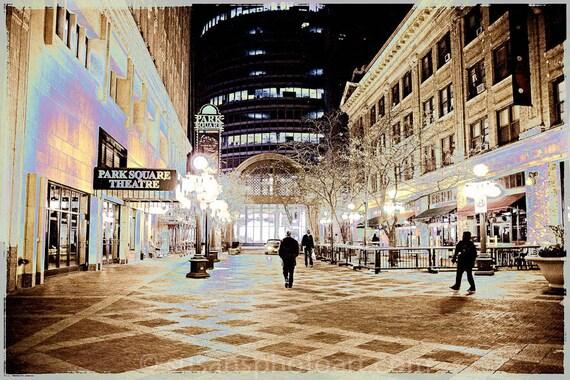 Park Square, St. Paul MN, digital photo, wall art, Minnesota, urban, night photo, urban, office art, edgy,