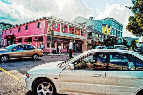 Caribbean Streets,digital photo,  wall art, office, home decor, ocean city, humor, colorful, resort