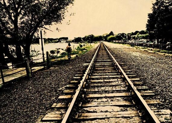 Dog Walk on Railroad Tracks, Wayzata MN,  digital art photo, office art, wall art, Minnesota, train tracks, sepia,