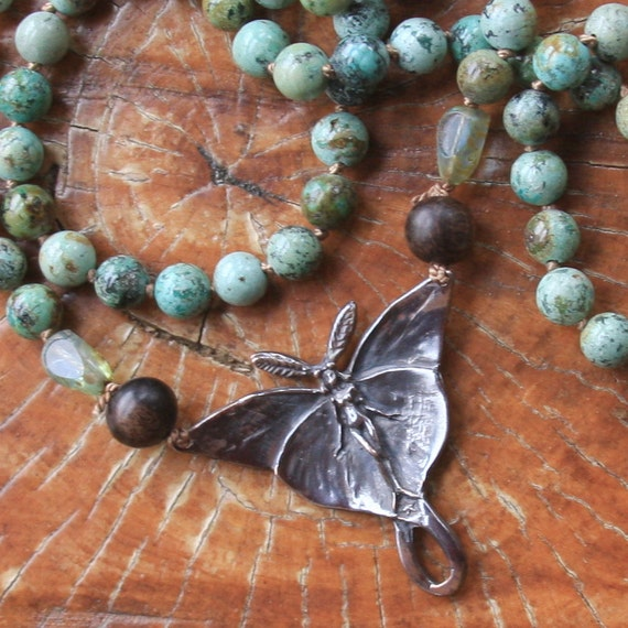 SALE fairy on turquoise long necklace...