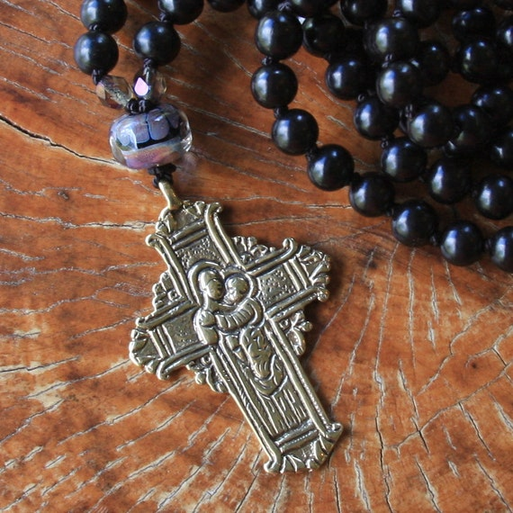 saint anthony russian cross long necklace with lamp work bead...