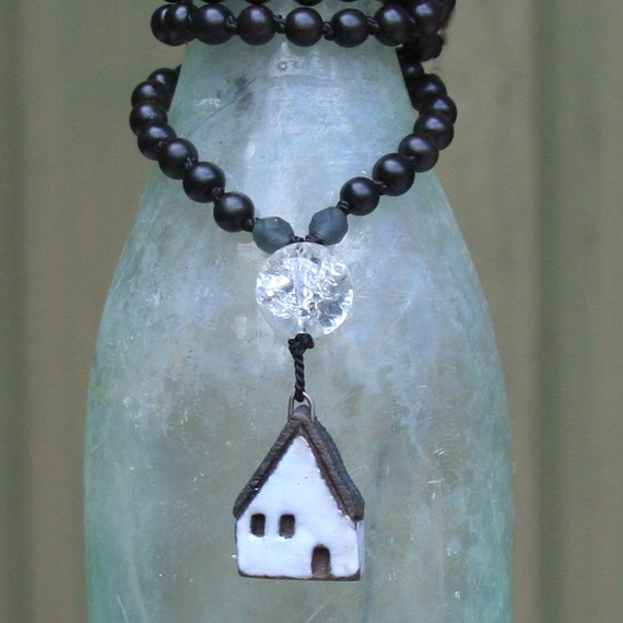 house with full moon long necklace....
