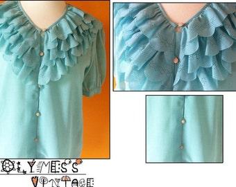 vintage turquoise ruffle lace blouse (m)