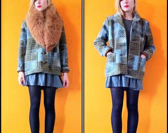 Vintage pattern granny check coat (s/m)