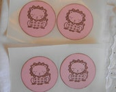 Handmade Sticker Seals - Baby LIon Cub - on pink cardstock