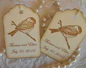 Personalized - Vintage Wedding Wish Tree/Favor Tags -  Bird on Branch