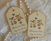 Personalized - Vintage Wedding Wish Tree/Favor Tags -  Birds in Love