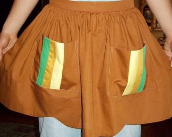 Homemade Waist Apron Brown with Striped Pockets