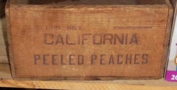 California Peeled Peaches Wood Box