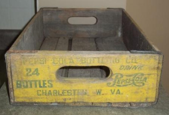 Yellow Pepsi Wood Crate