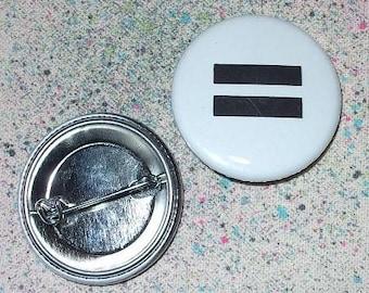 Equal Sign pinback button by Rainbow Alternative LGBT LGBTQ gay lesbian trans pride marriage equality