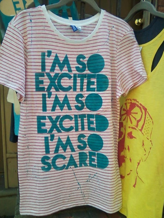 Jessie Spano I'm So Excited / Scared SBTB funny tshirt TV hand stenciled by Rainbow Alternative on Etsy