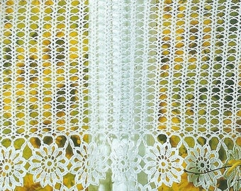 Crochet Lace Curtain/Valance - Flower Chain