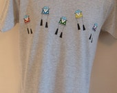 Adults Light Grey T-shirt, decorated with hand painted splitscreen Vans.