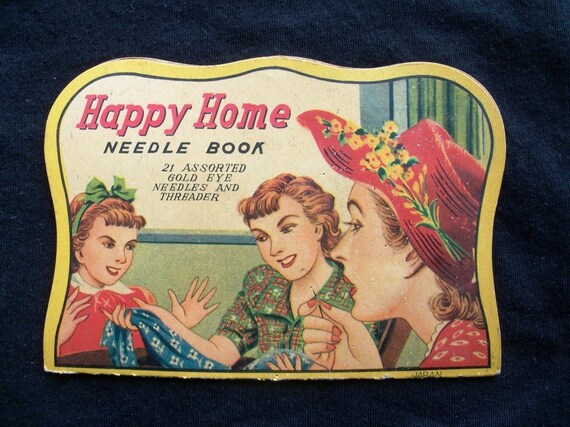 Vintage Needle Book Happy Home Needle Book 21 Assorted Needles and Threader 1940s