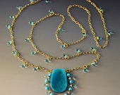 Turquoise Long Necklace - Lace Agate Pendant - blue glass drops - gold chain