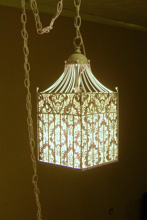 White Birdcage Brown Damask Hanging Lamp On Sale