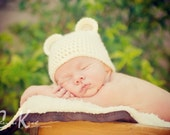 Photography prop baby white bear hat, newborn-12 months, MADE TO ORDER