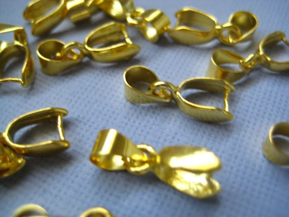 5 pcs Gold Tone Pendant Bails 15mm